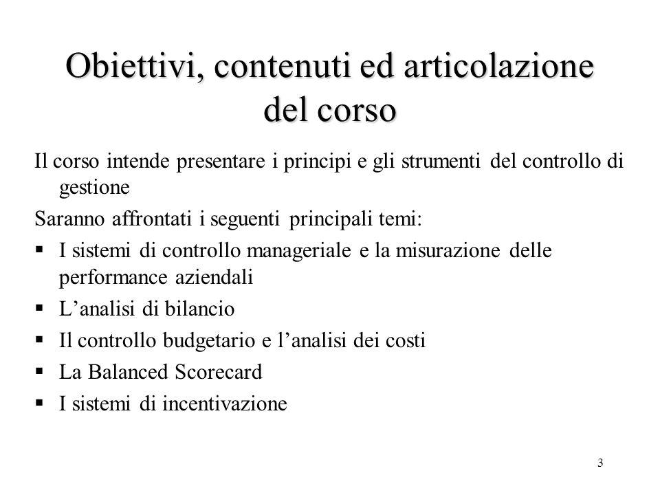 Obiettivi, contenuti ed articolazione del corso