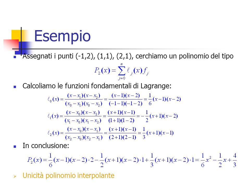 Esempio Assegnati i punti (-1,2), (1,1), (2,1), cerchiamo un polinomio del tipo. Calcoliamo le funzioni fondamentali di Lagrange: