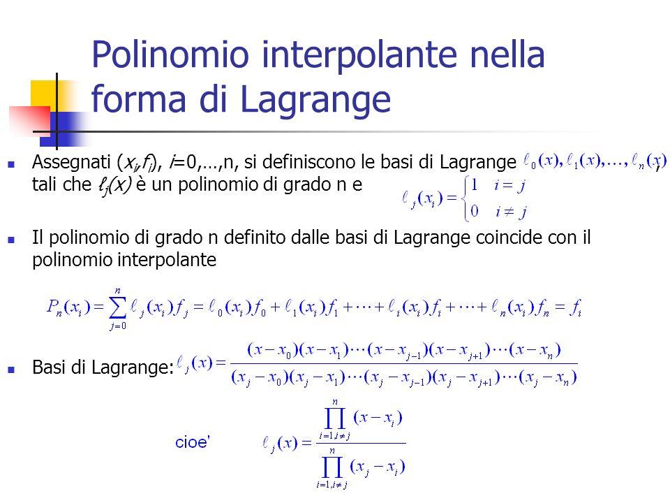 Polinomio interpolante nella forma di Lagrange
