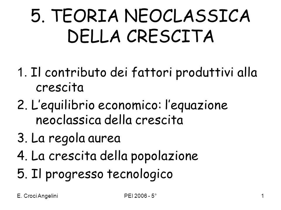 5. TEORIA NEOCLASSICA DELLA CRESCITA