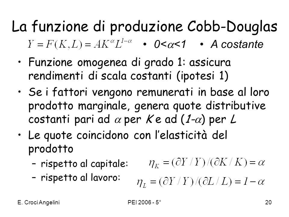 La funzione di produzione Cobb-Douglas