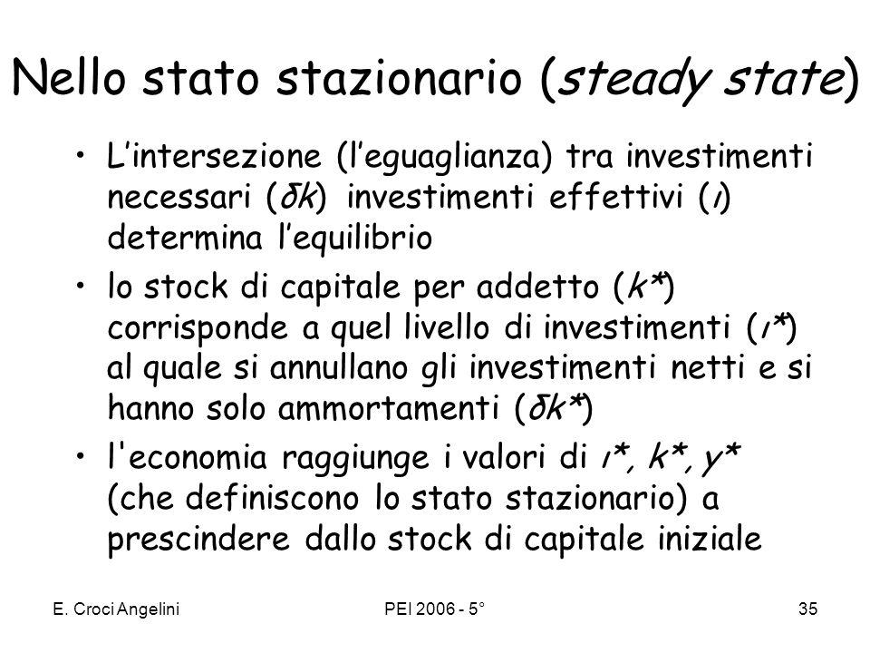 Nello stato stazionario (steady state)