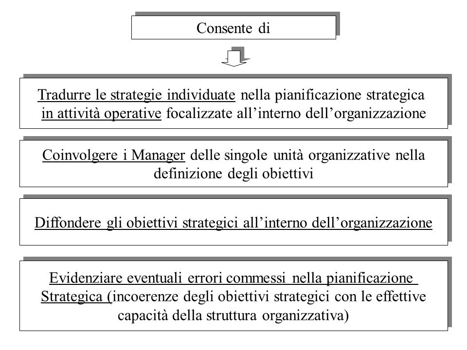 Tradurre le strategie individuate nella pianificazione strategica