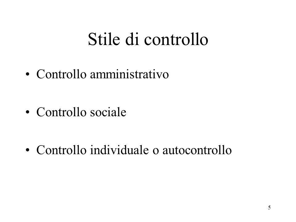 Stile di controllo Controllo amministrativo Controllo sociale