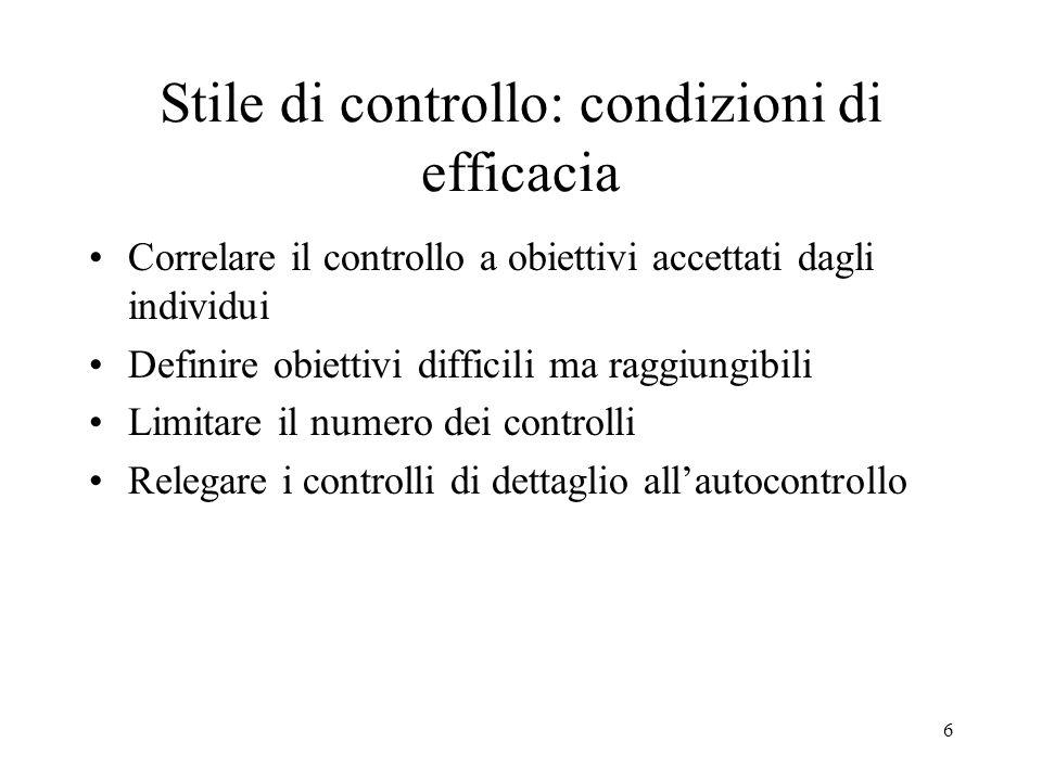 Stile di controllo: condizioni di efficacia