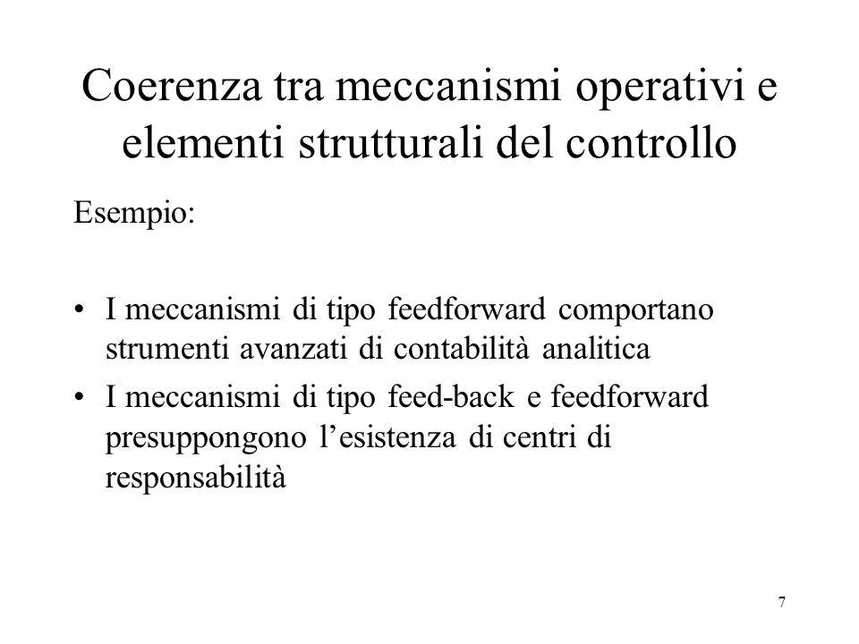 Coerenza tra meccanismi operativi e elementi strutturali del controllo