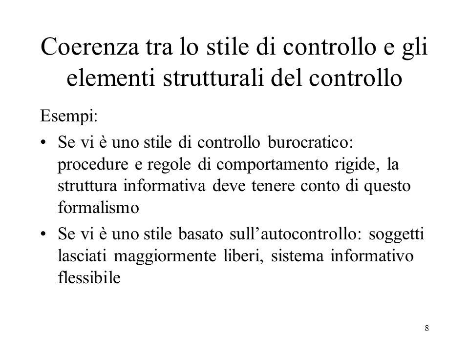 Coerenza tra lo stile di controllo e gli elementi strutturali del controllo