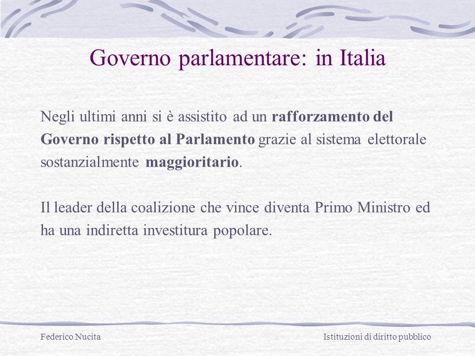 Governo parlamentare: in Italia