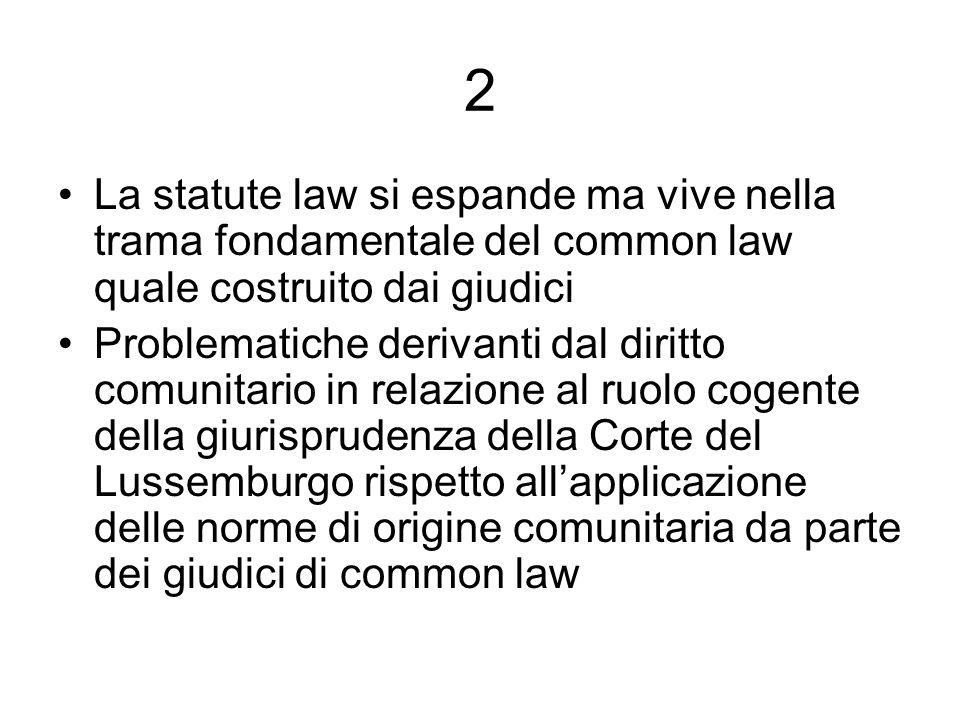 2 La statute law si espande ma vive nella trama fondamentale del common law quale costruito dai giudici.
