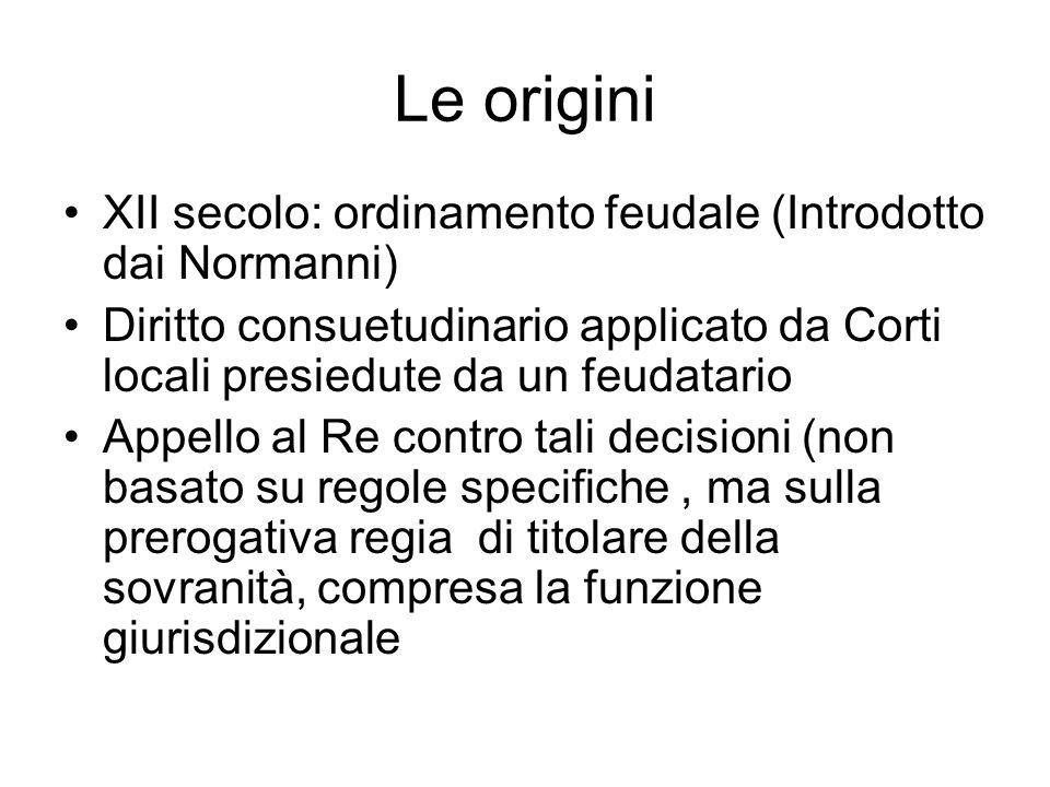 Le origini XII secolo: ordinamento feudale (Introdotto dai Normanni)