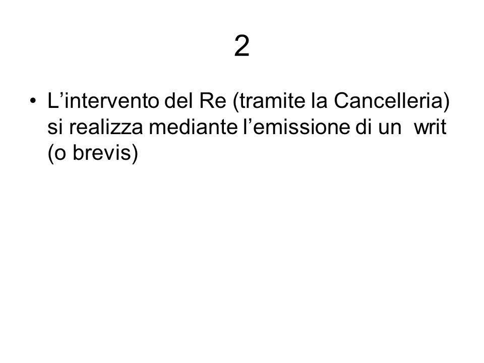 2L'intervento del Re (tramite la Cancelleria) si realizza mediante l'emissione di un writ (o brevis)