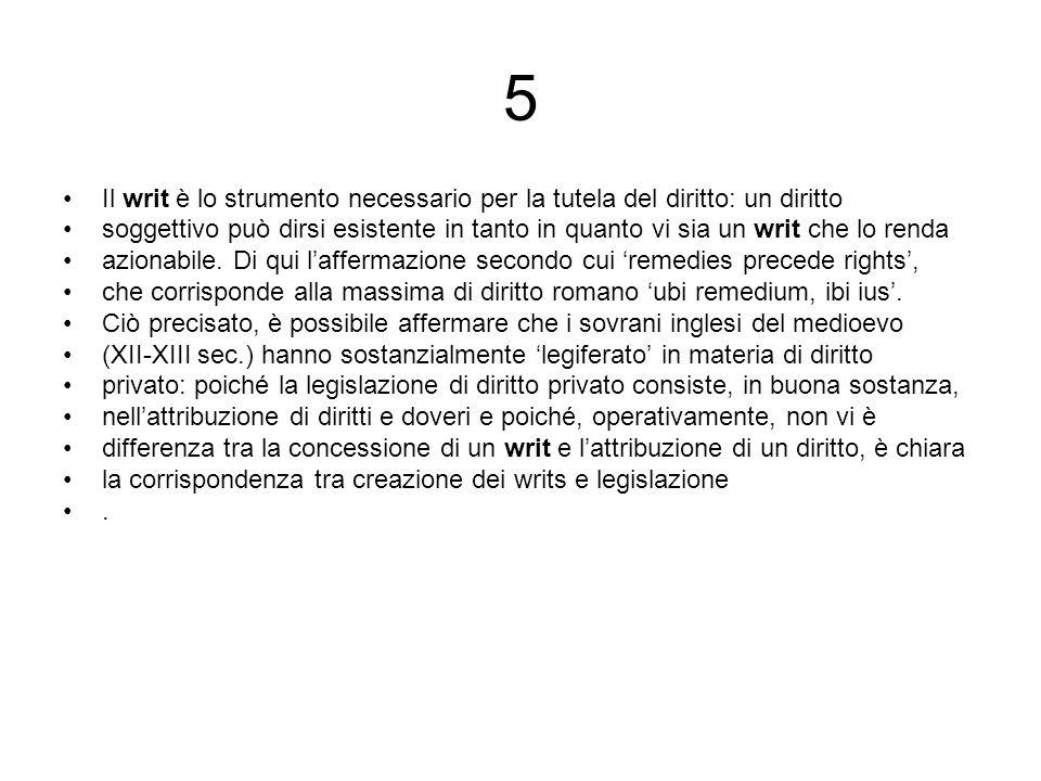5 Il writ è lo strumento necessario per la tutela del diritto: un diritto.