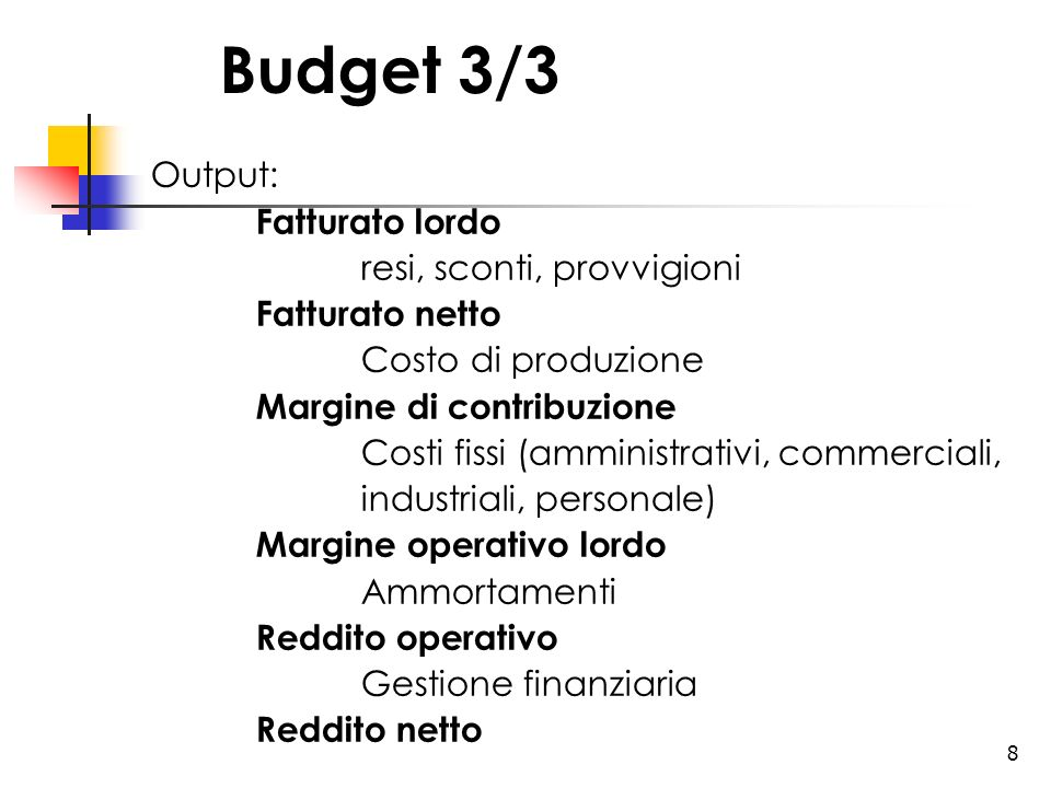 Budget 3/3 Output: Fatturato lordo resi, sconti, provvigioni