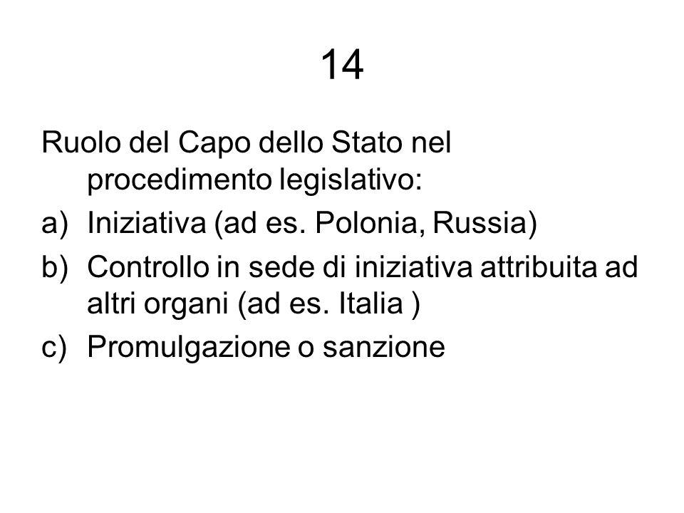 14 Ruolo del Capo dello Stato nel procedimento legislativo: