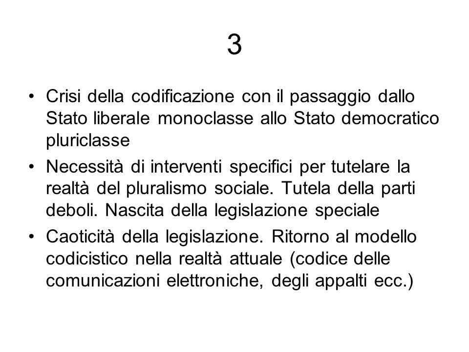3 Crisi della codificazione con il passaggio dallo Stato liberale monoclasse allo Stato democratico pluriclasse.