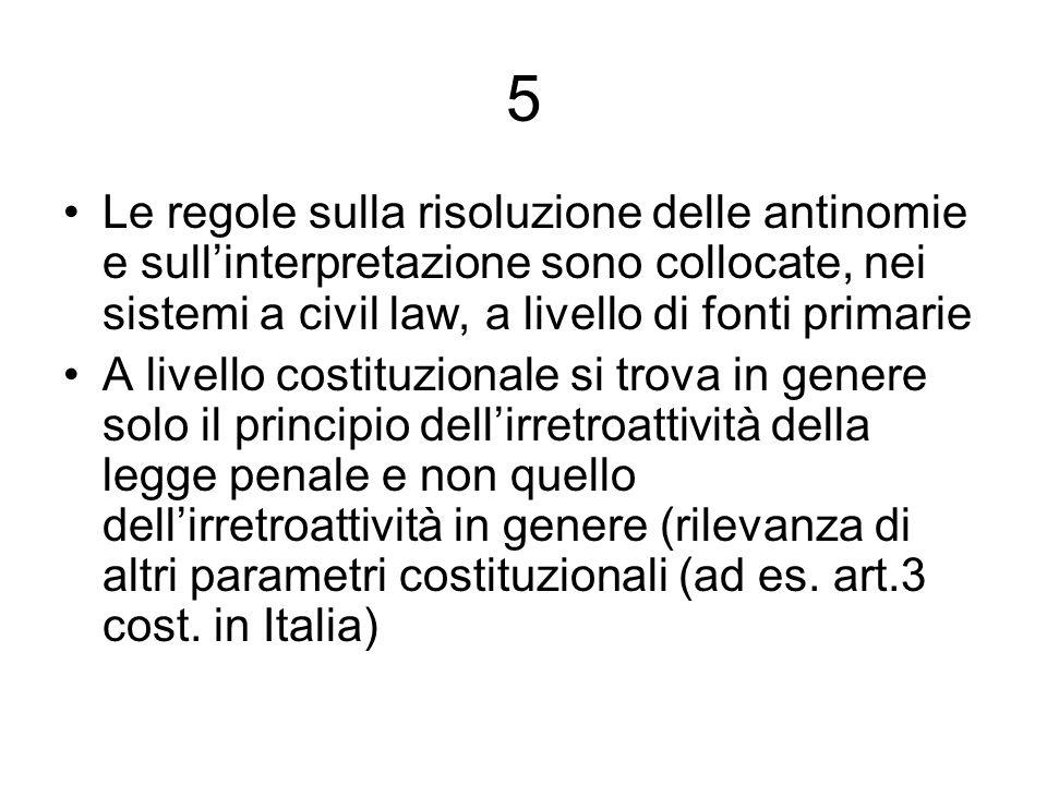 5 Le regole sulla risoluzione delle antinomie e sull'interpretazione sono collocate, nei sistemi a civil law, a livello di fonti primarie.
