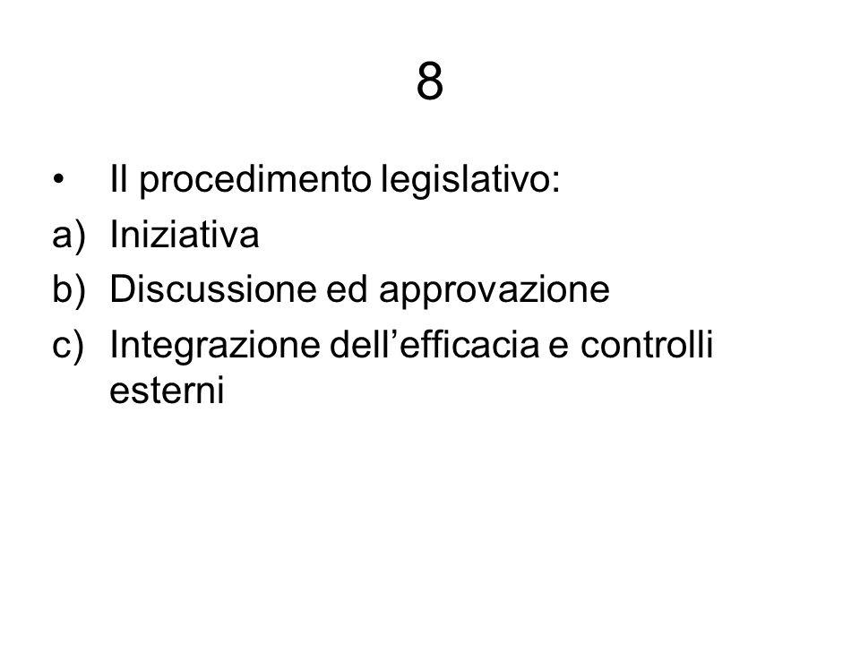 8 Il procedimento legislativo: Iniziativa Discussione ed approvazione