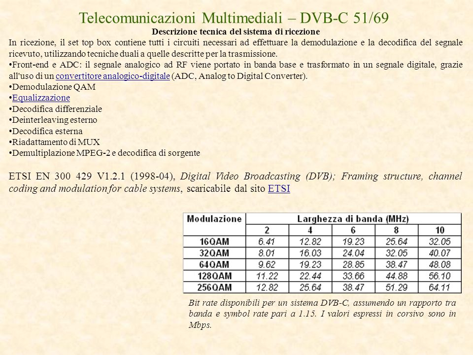 Descrizione tecnica del sistema di ricezione