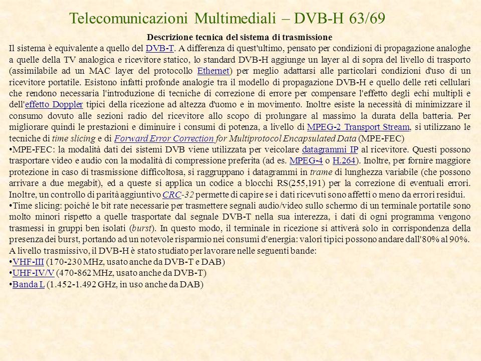 Descrizione tecnica del sistema di trasmissione