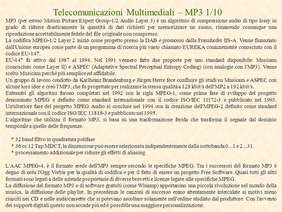 Telecomunicazioni Multimediali – MP3 1/10
