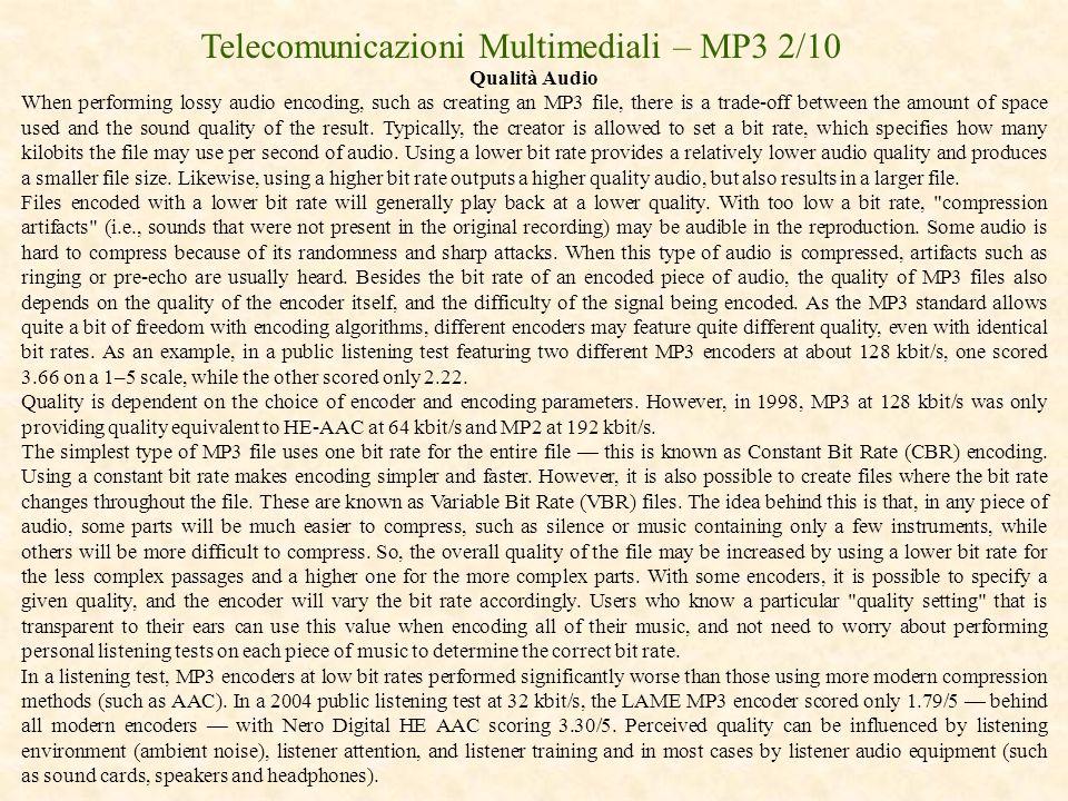 Telecomunicazioni Multimediali – MP3 2/10