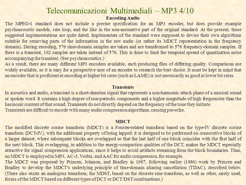 Telecomunicazioni Multimediali – MP3 4/10