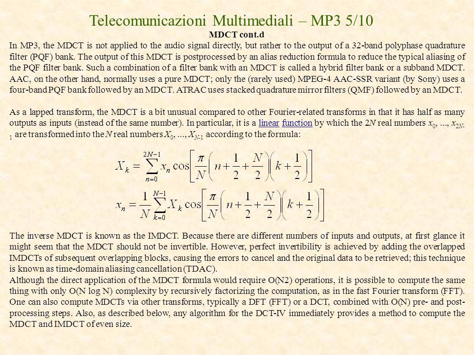 Telecomunicazioni Multimediali – MP3 5/10
