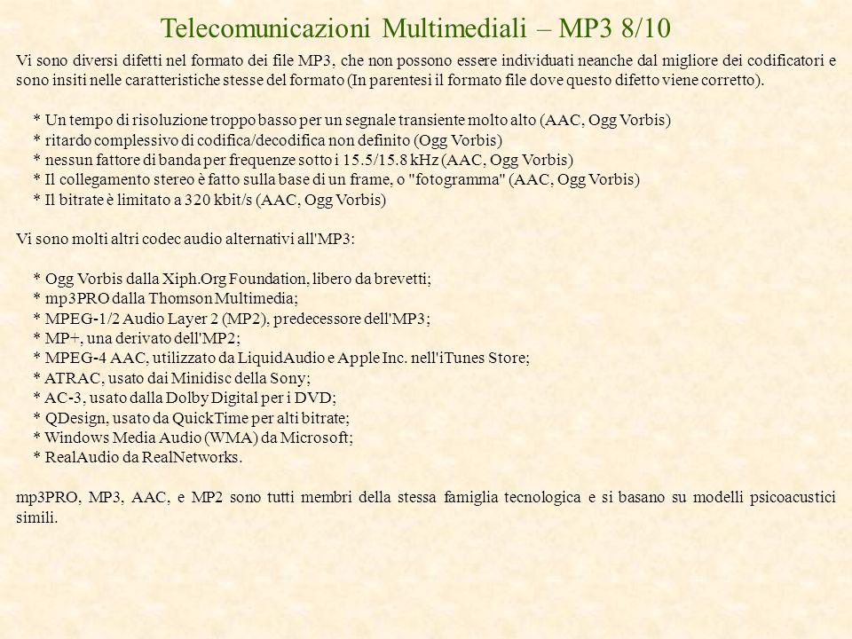 Telecomunicazioni Multimediali – MP3 8/10