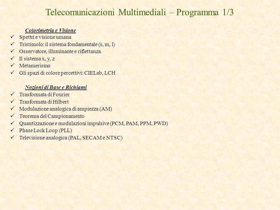 Telecomunicazioni Multimediali – Programma 1/3