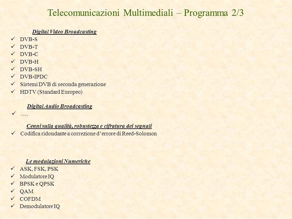 Telecomunicazioni Multimediali – Programma 2/3
