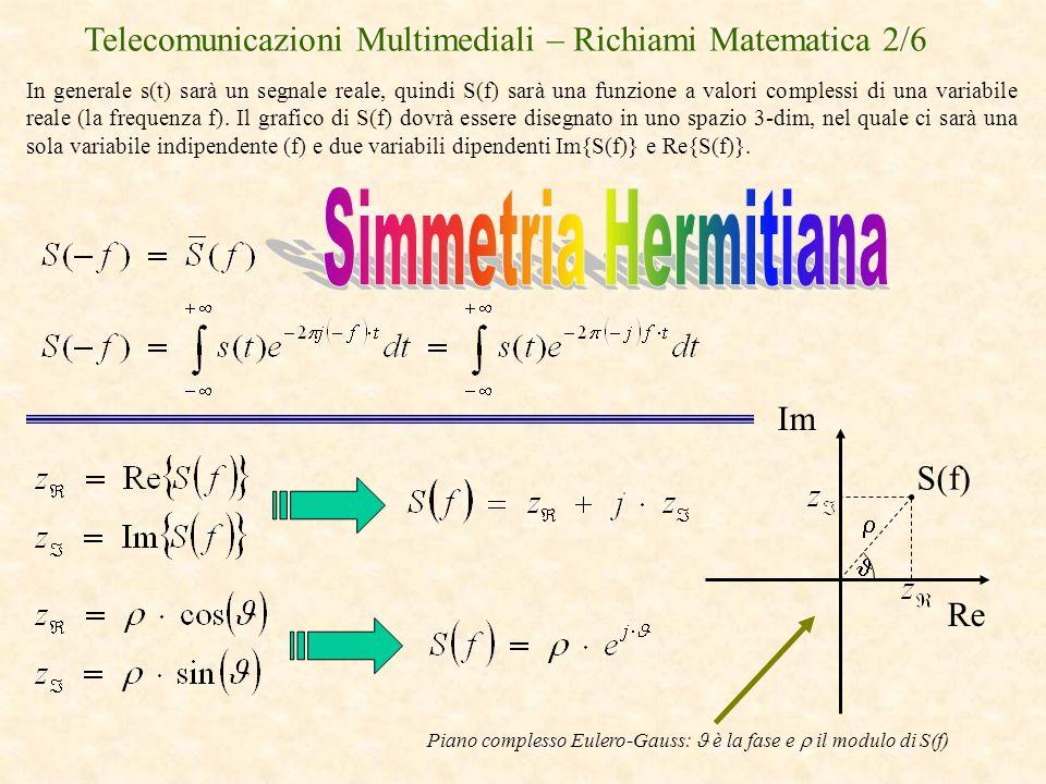 Telecomunicazioni Multimediali – Richiami Matematica 2/6