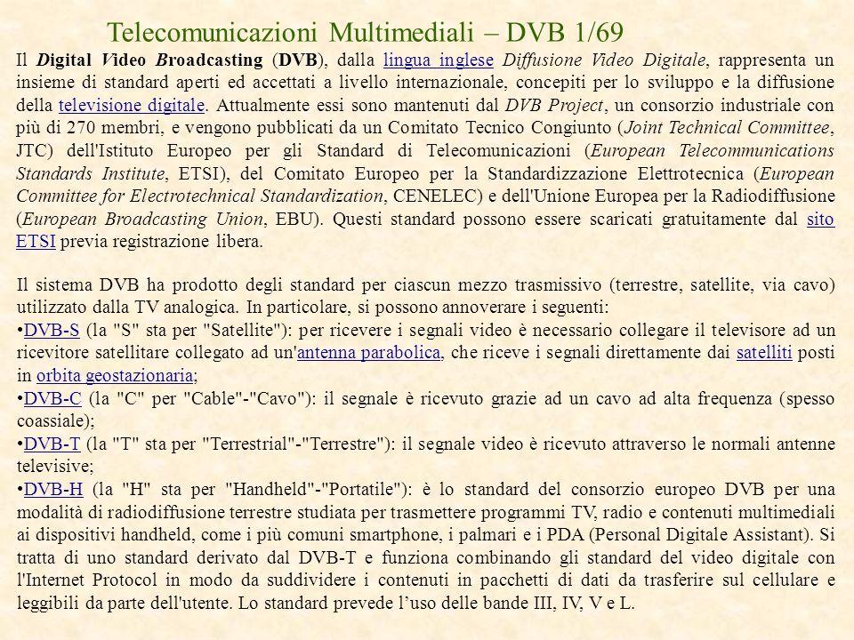 Telecomunicazioni Multimediali – DVB 1/69