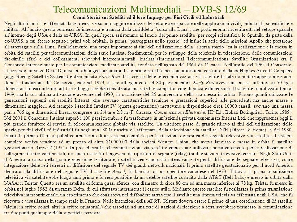 Telecomunicazioni Multimediali – DVB-S 12/69