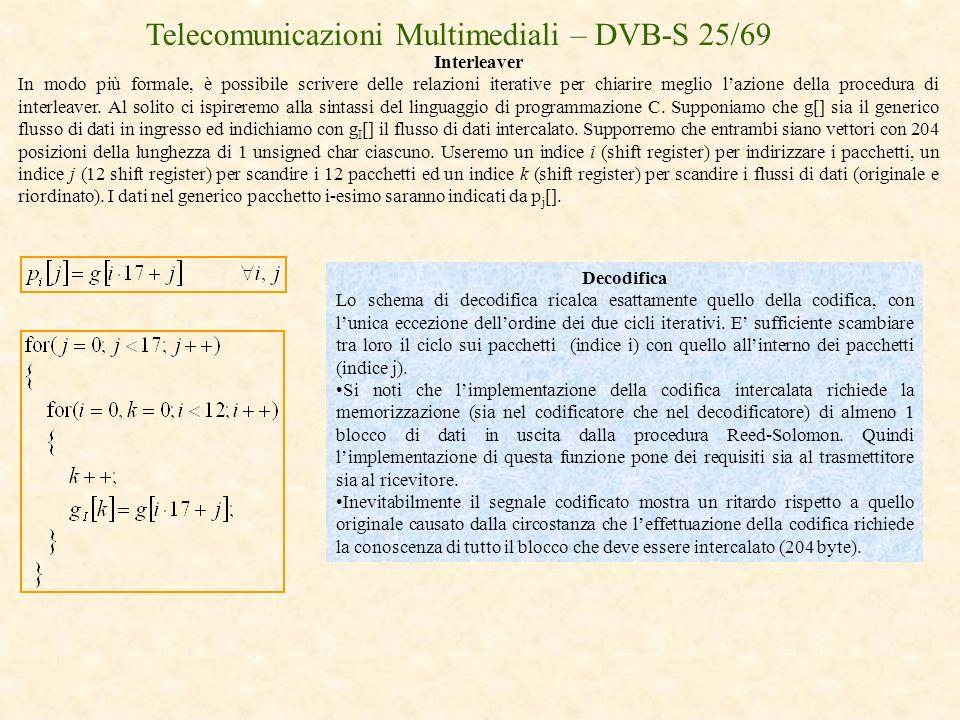 Telecomunicazioni Multimediali – DVB-S 25/69