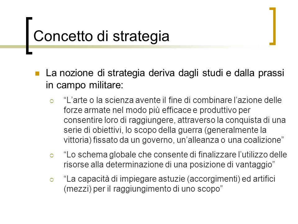 Concetto di strategia La nozione di strategia deriva dagli studi e dalla prassi in campo militare: