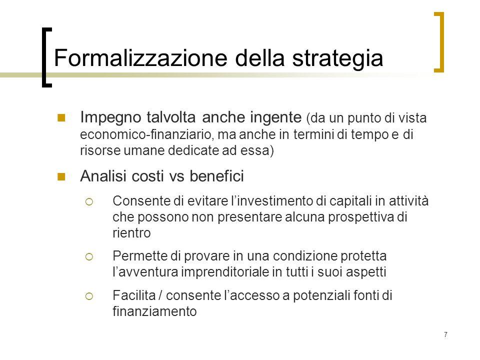Formalizzazione della strategia
