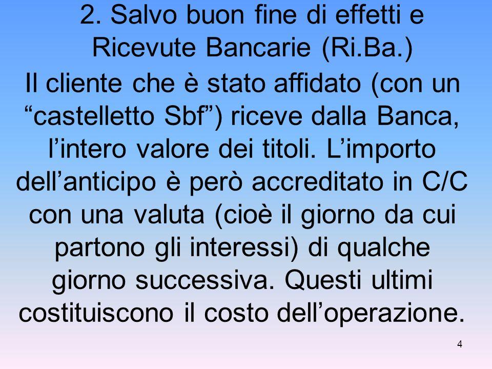 2. Salvo buon fine di effetti e Ricevute Bancarie (Ri.Ba.)