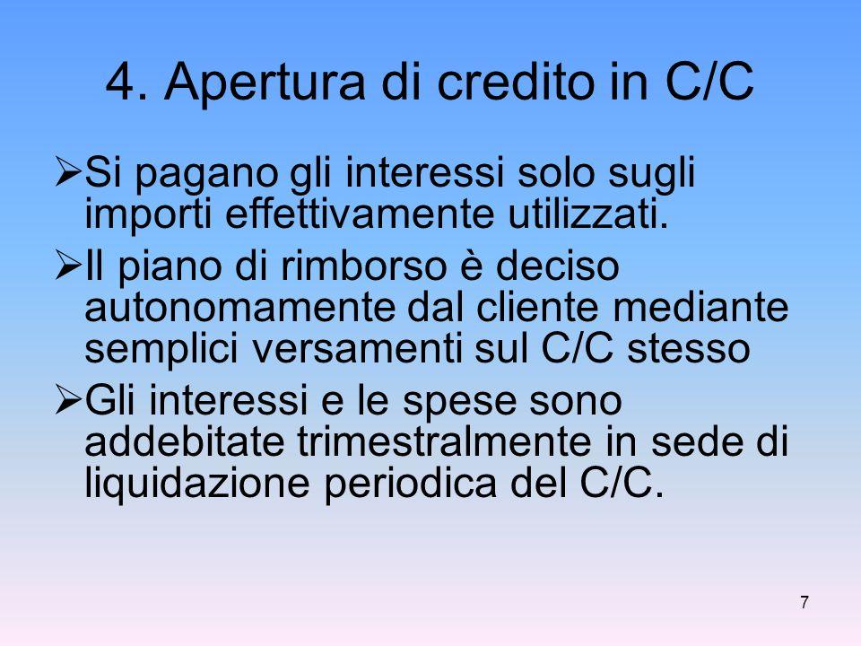 4. Apertura di credito in C/C