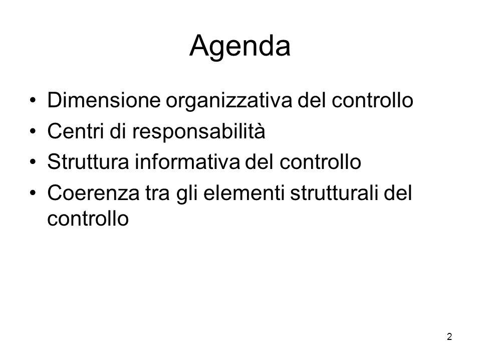 Agenda Dimensione organizzativa del controllo Centri di responsabilità