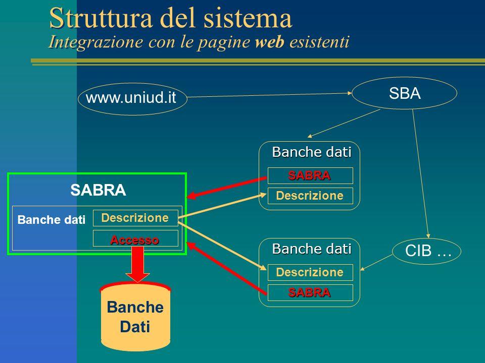 Struttura del sistema Integrazione con le pagine web esistenti