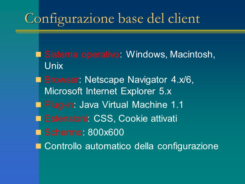 Configurazione base del client