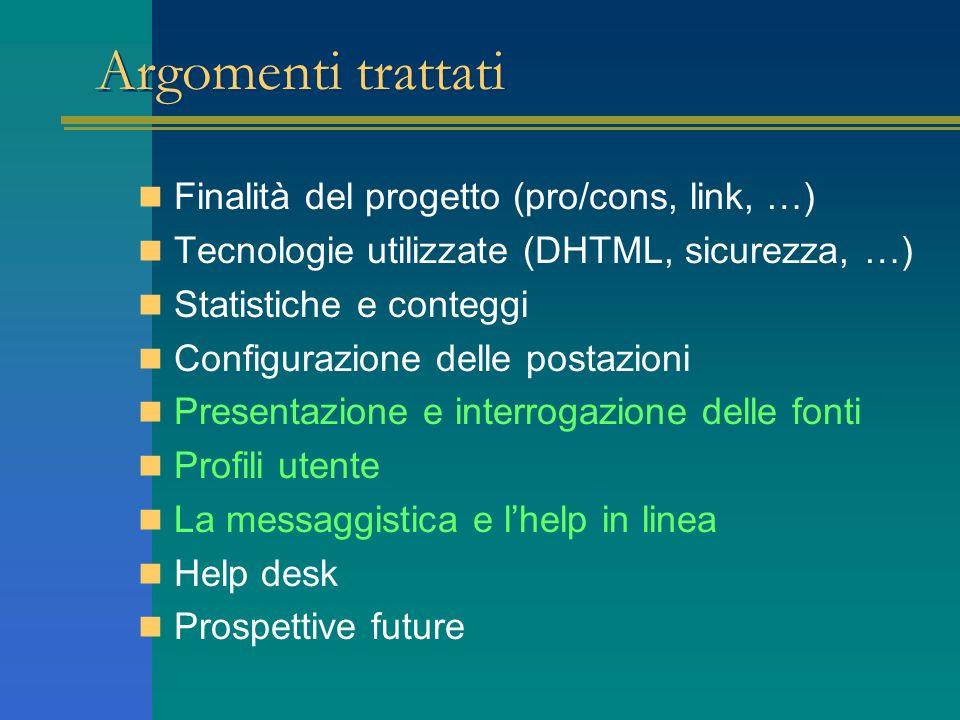 Argomenti trattati Finalità del progetto (pro/cons, link, …)