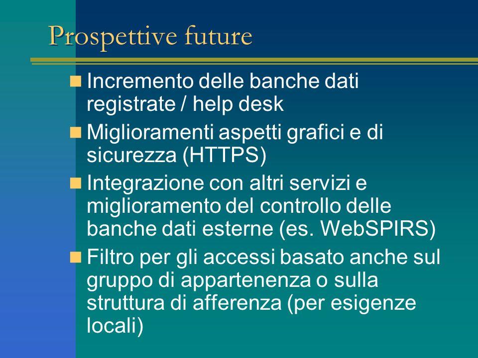 Prospettive future Incremento delle banche dati registrate / help desk
