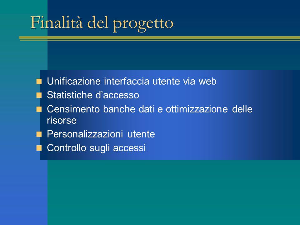 Finalità del progetto Unificazione interfaccia utente via web