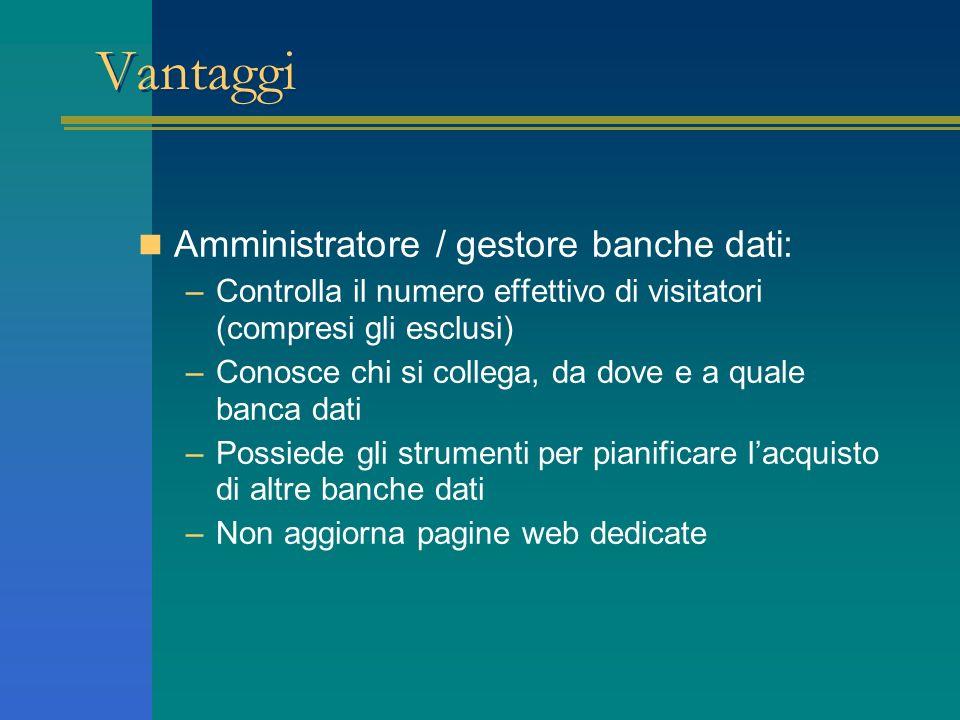 Vantaggi Amministratore / gestore banche dati: