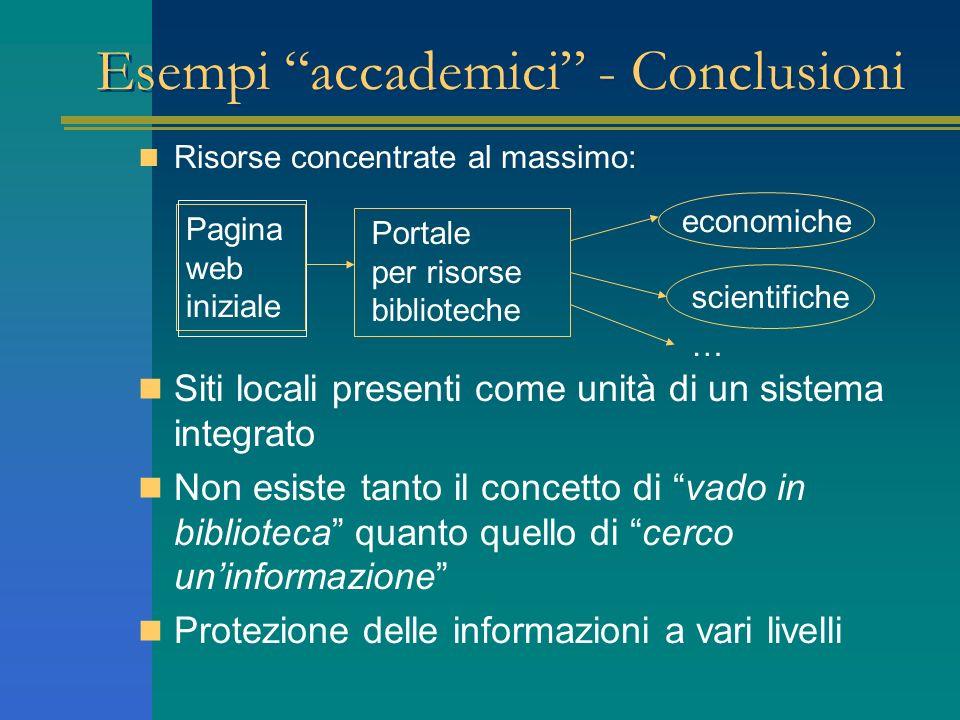 Esempi accademici - Conclusioni