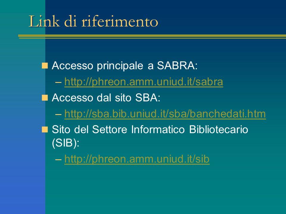 Link di riferimento Accesso principale a SABRA: