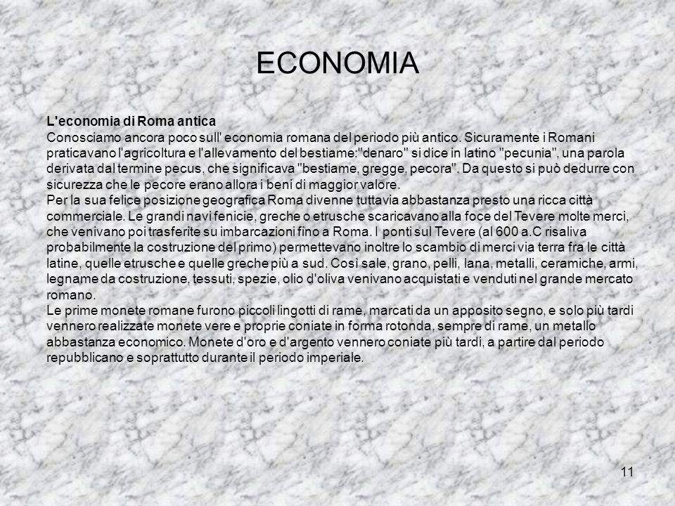 ECONOMIA L economia di Roma antica