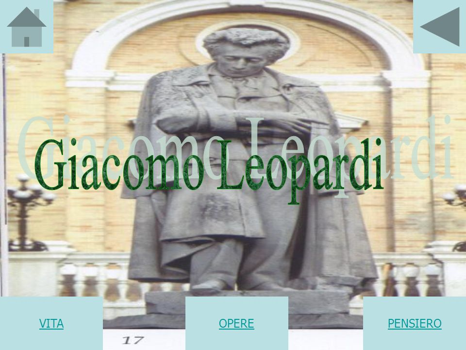 Giacomo Leopardi VITA OPERE PENSIERO