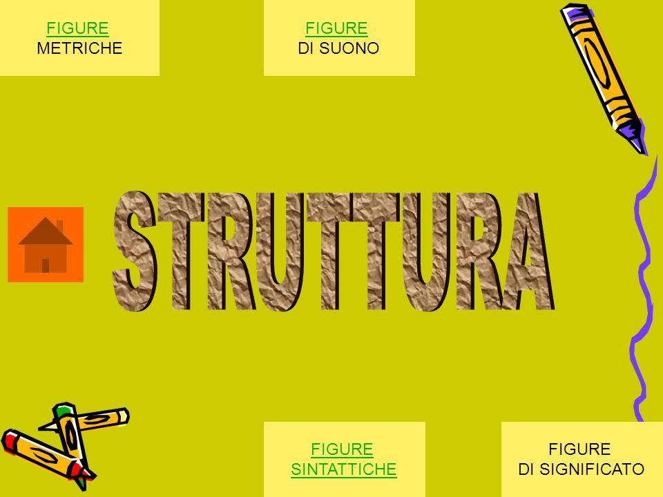 STRUTTURA FIGURE METRICHE FIGURE DI SUONO FIGURE SINTATTICHE FIGURE